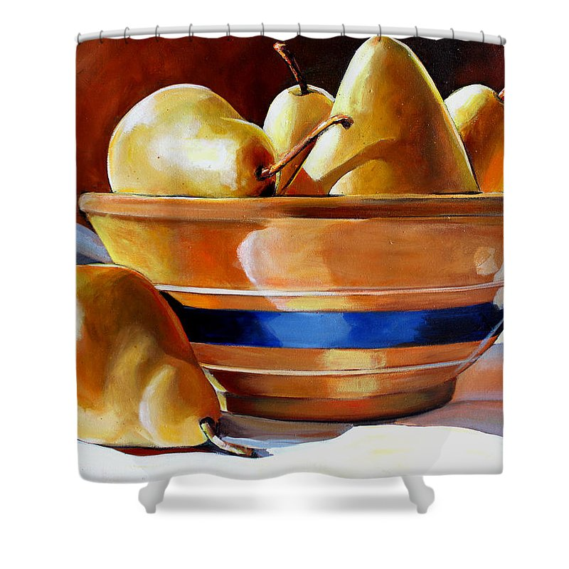 Yelloware Shower Curtain featuring the painting Pears In Yelloware by Toni Grote