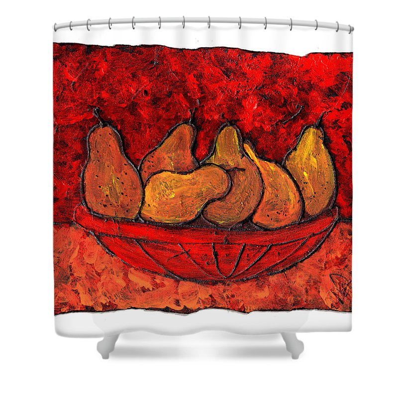 Food And Drink Shower Curtain featuring the painting Pears On Fire by Wayne Potrafka