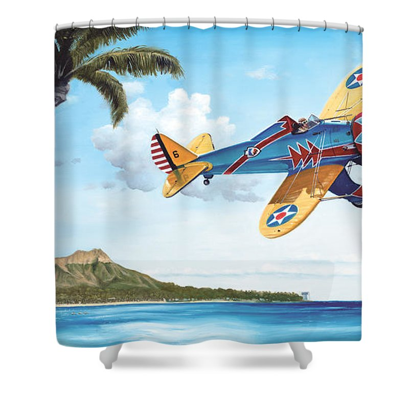 Aviation Shower Curtain featuring the painting Peashooter In Paradise by Marc Stewart
