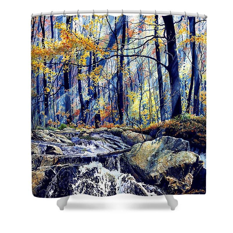 Pebble Creek Autumn Shower Curtain featuring the painting Pebble Creek Autumn by Hanne Lore Koehler