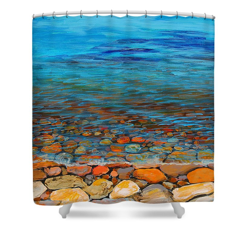 Pebbles Shower Curtain featuring the painting Pebbles by Sandra Francis