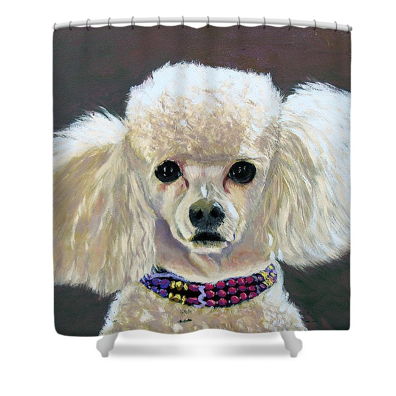 Dog Shower Curtain featuring the painting Pebbles by Stan Hamilton