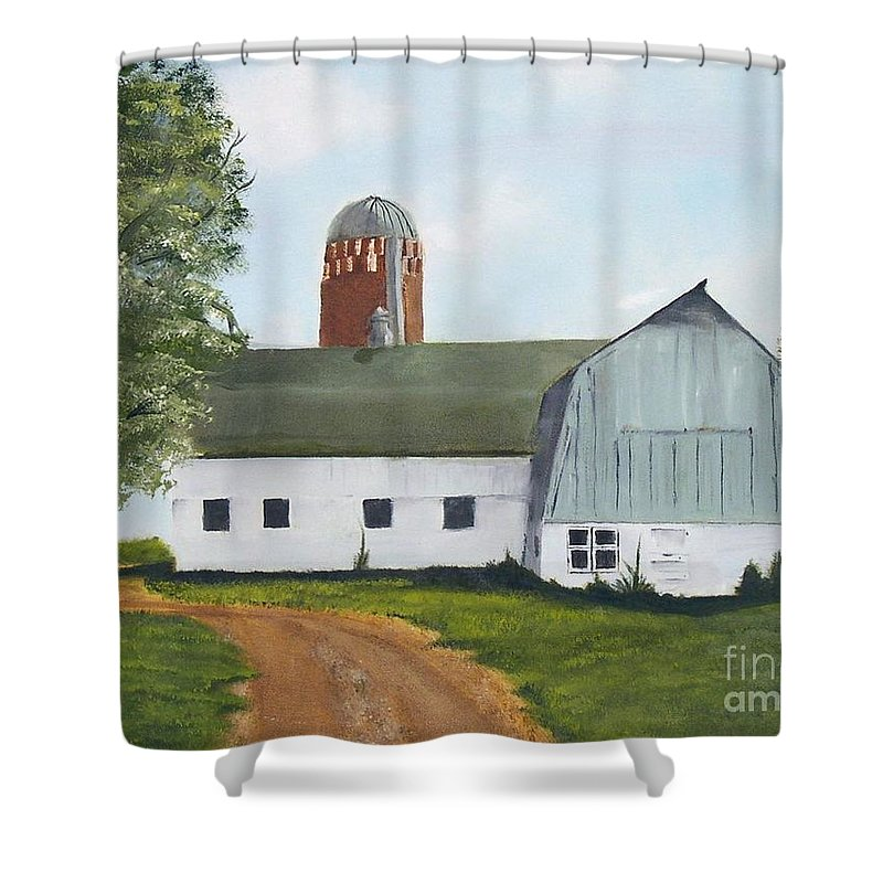 Barn Shower Curtain featuring the painting Pedersen Barn by Mendy Pedersen
