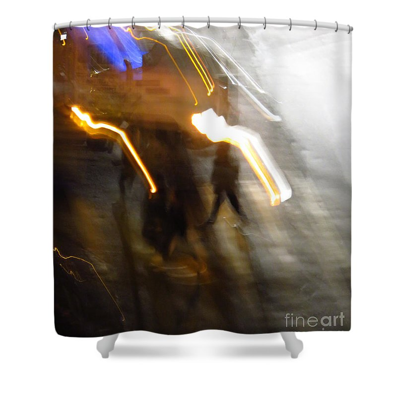 Abstract Shower Curtain featuring the photograph Pedestrians 4 6th Ave Series Abstract by Ken Lerner