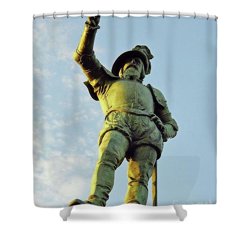 Statue Shower Curtain featuring the photograph Pedro Menendez De Aviles by D Hackett