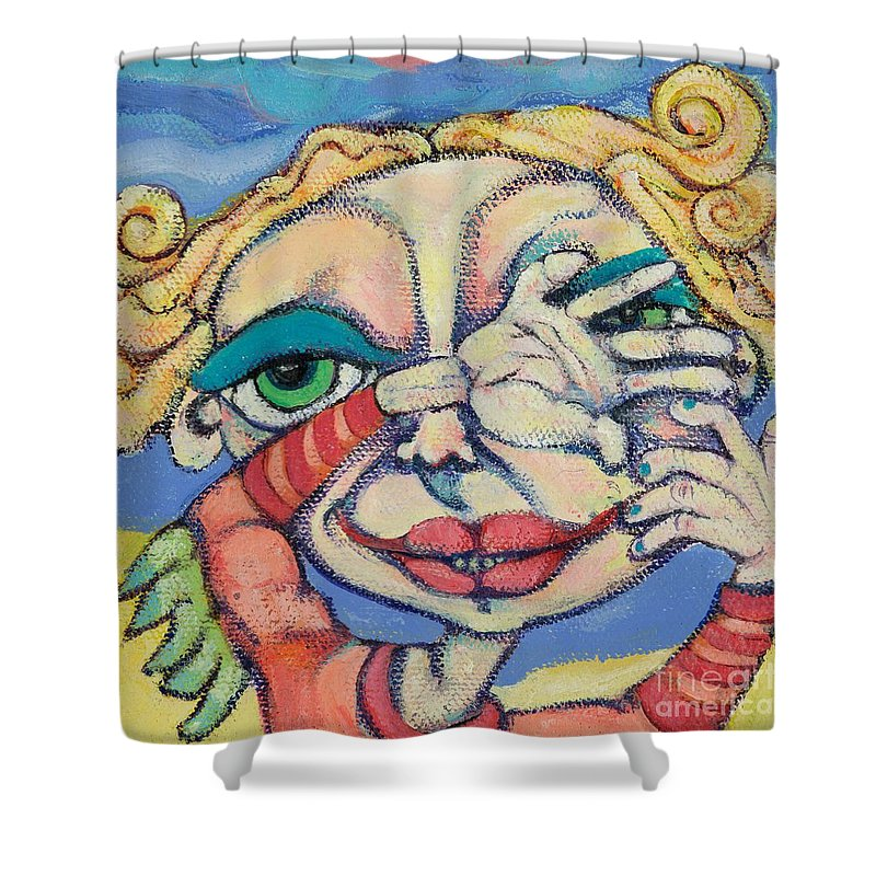Circle Heads Art Shower Curtain featuring the painting Peek-a-boo by Michelle Spiziri