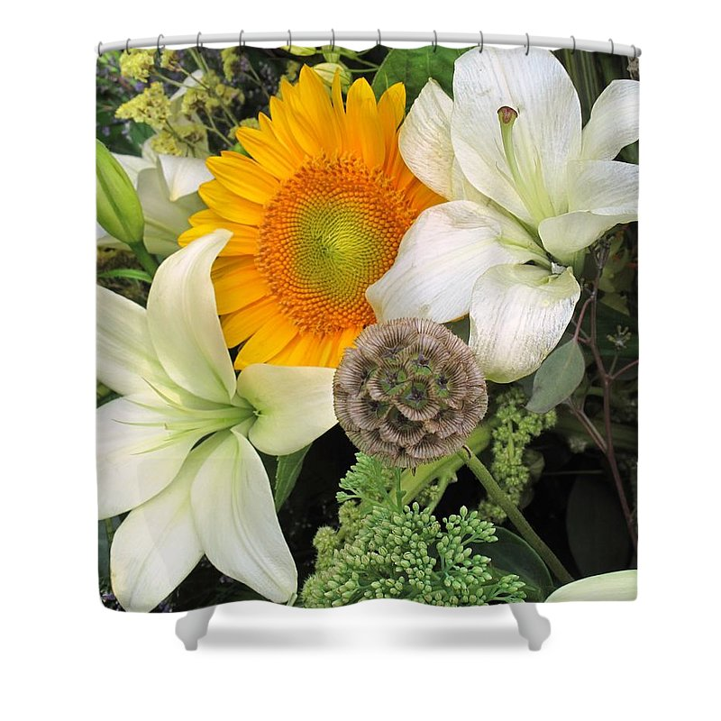 Lillies Shower Curtain featuring the photograph Peeking Out by Ian MacDonald