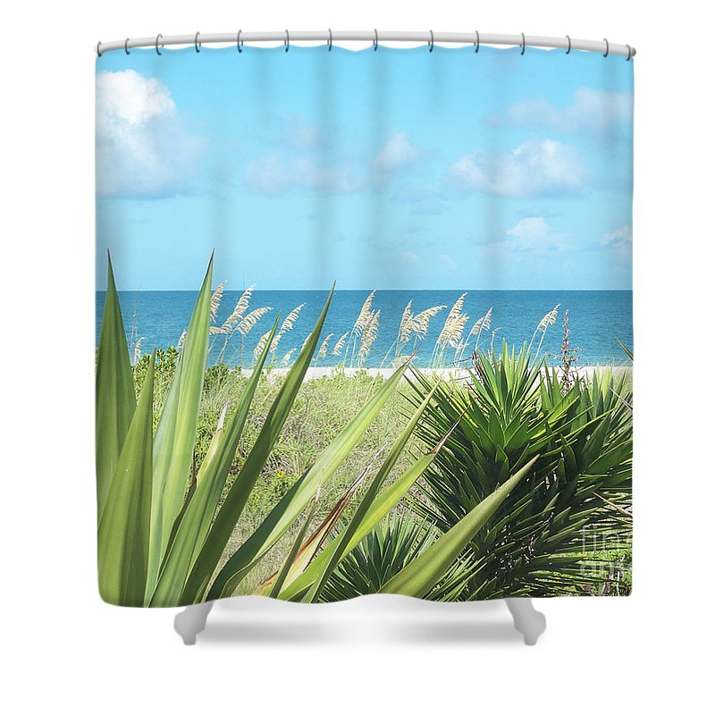 Florida Shower Curtain featuring the photograph Peeking Sea by Chris Andruskiewicz