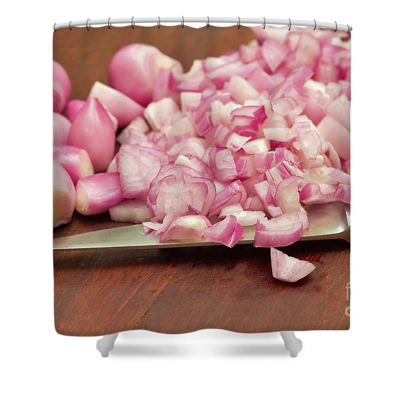 Peeled Shower Curtain featuring the photograph Peeled And Chopped Shallots by Louise Heusinkveld