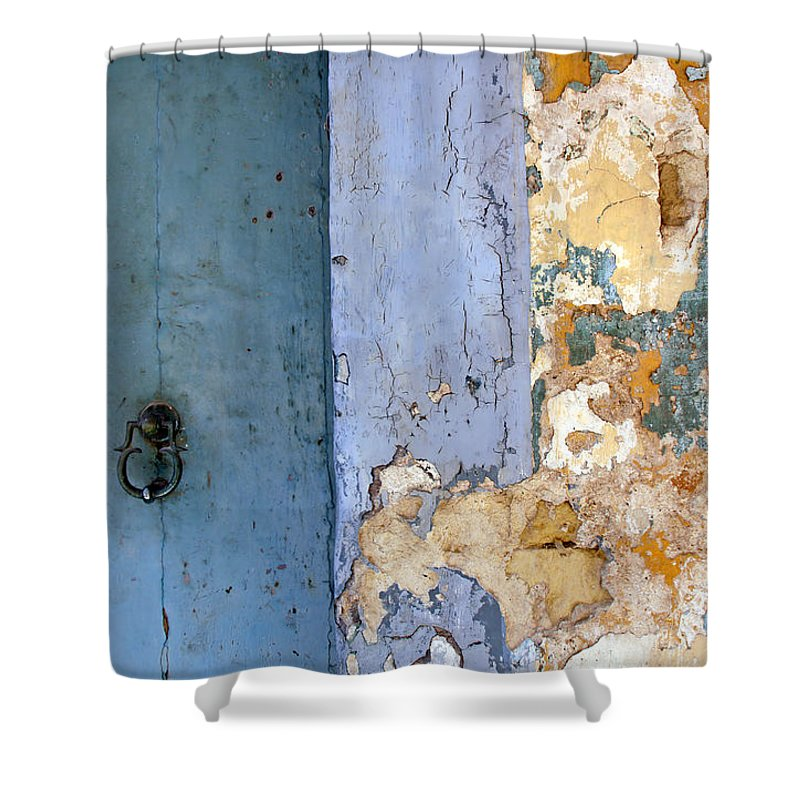 Old Shower Curtain featuring the photograph Peeling Paint by Zeljka Milanovic