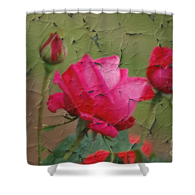 Rose Shower Curtain featuring the digital art Peeling Rose by Donna Bentley