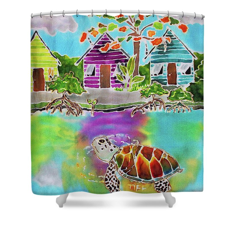 Bahamas Art Shower Curtain featuring the painting Peepin Tom by Tiff