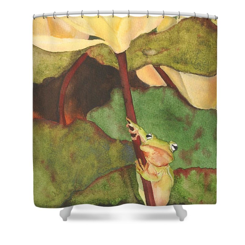 Frog Shower Curtain featuring the painting Peeping Tom by Jean Blackmer