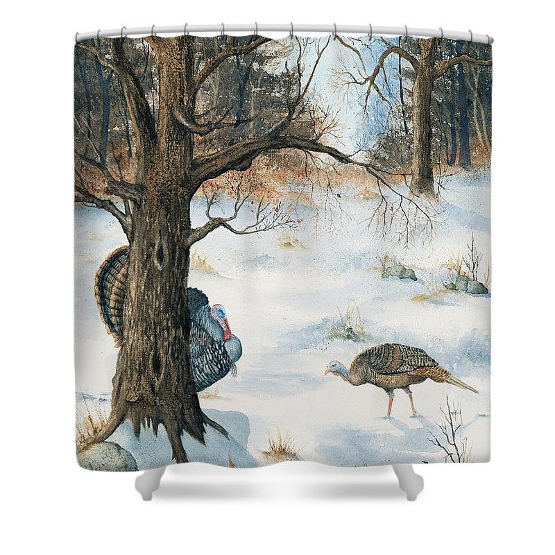Turkey Shower Curtain featuring the painting Peeping Tom by Mary Tuomi