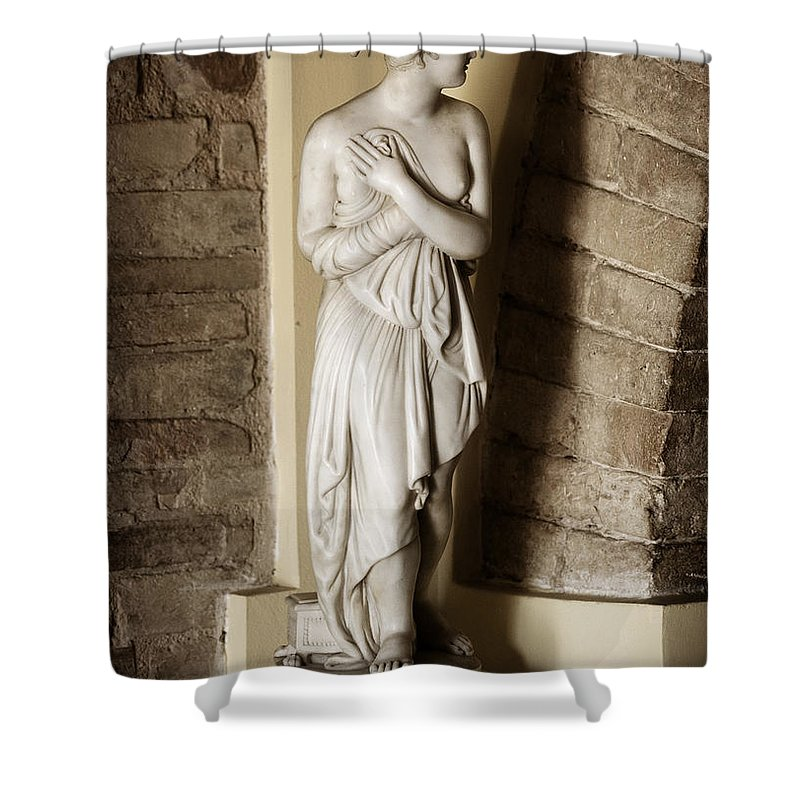 Statue Shower Curtain featuring the photograph Peering Woman by Marilyn Hunt