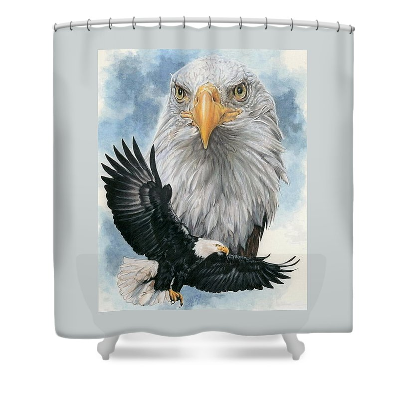 Bald Eagle Shower Curtain featuring the mixed media Peerless by Barbara Keith
