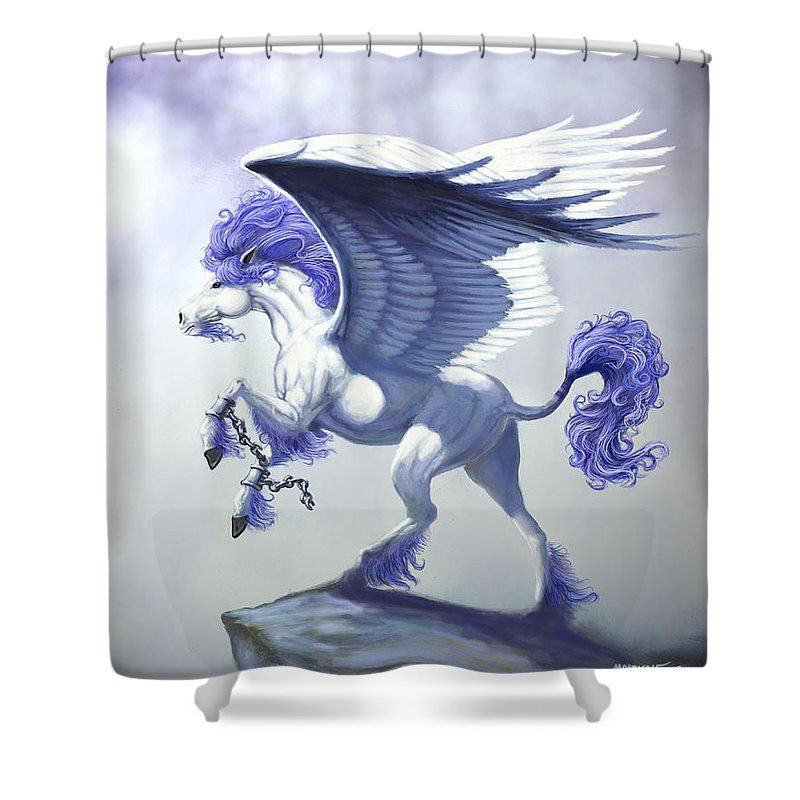 Pegasus.fantasy Shower Curtain featuring the digital art Pegasus Unchained by Stanley Morrison