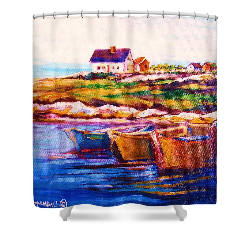 Row Boats Shower Curtain featuring the painting Peggys Cove Four Row Boats by Carole Spandau