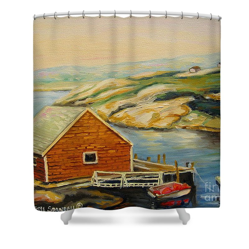 Peggy's Cove Harbor View Shower Curtain featuring the painting Peggys Cove Harbor View by Carole Spandau