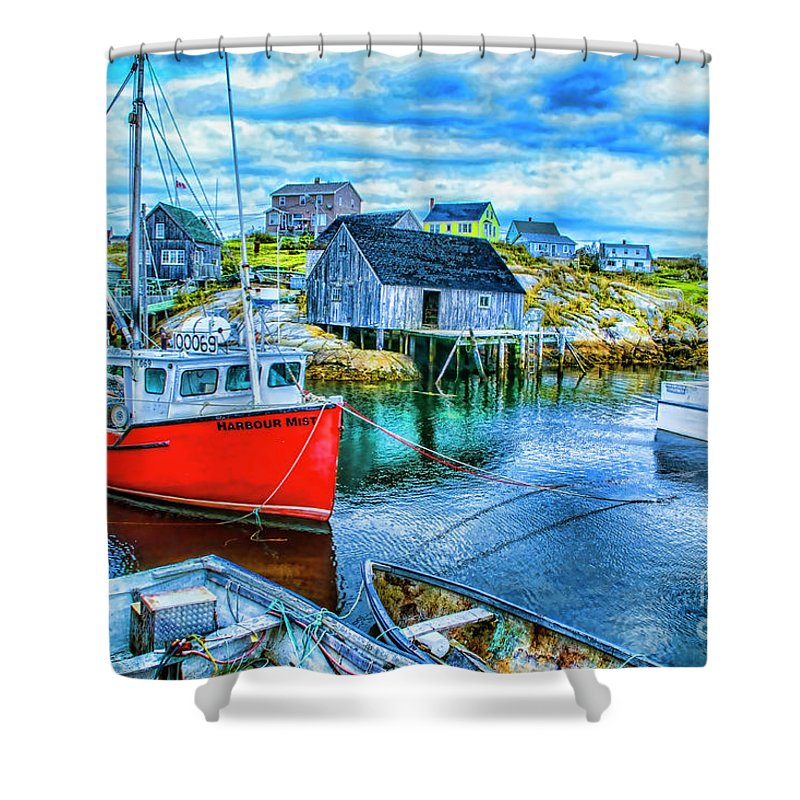 Peggy's Cove Landscapes Shower Curtain featuring the digital art Peggy's Two by Rick Bragan