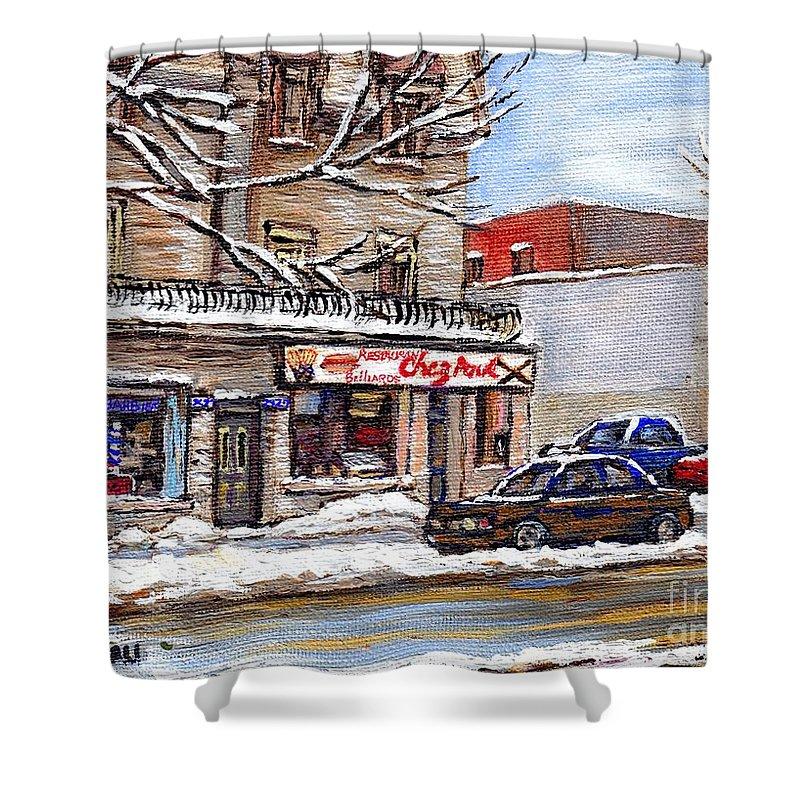 Restaurant Chez Paul Shower Curtain featuring the painting Peintures Petits Formats A Vendre Montreal Original Art For Sale Restaurant Chez Paul The Pointe Psc by Carole Spandau