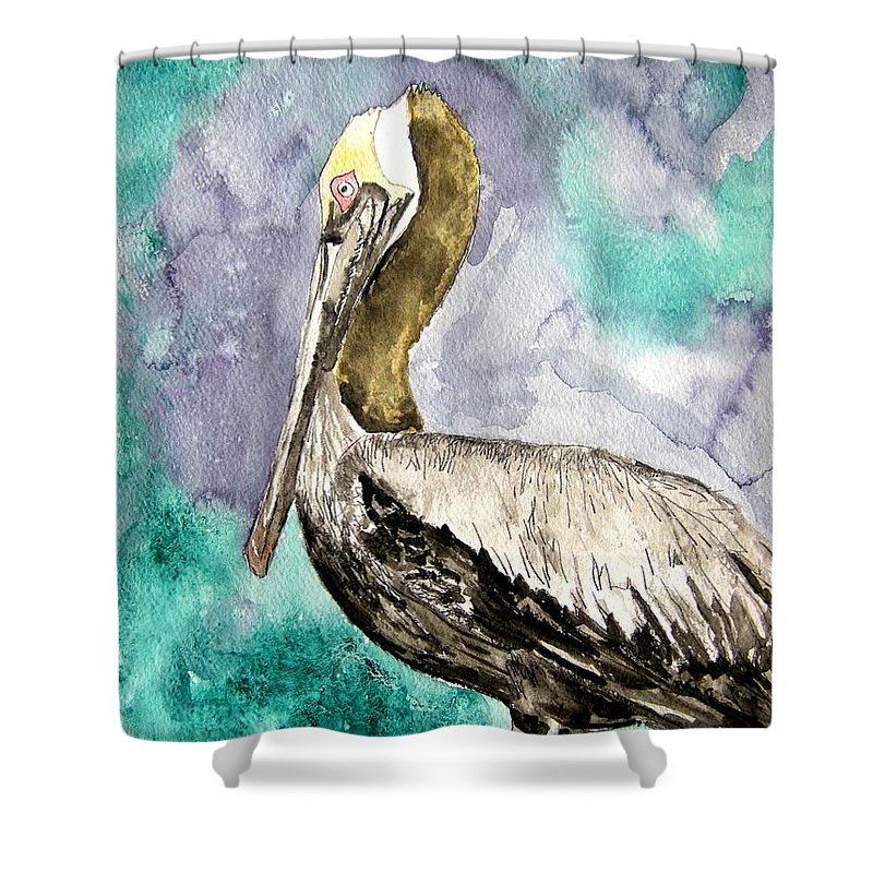 Pelican Shower Curtain featuring the painting Pelican by Derek Mccrea