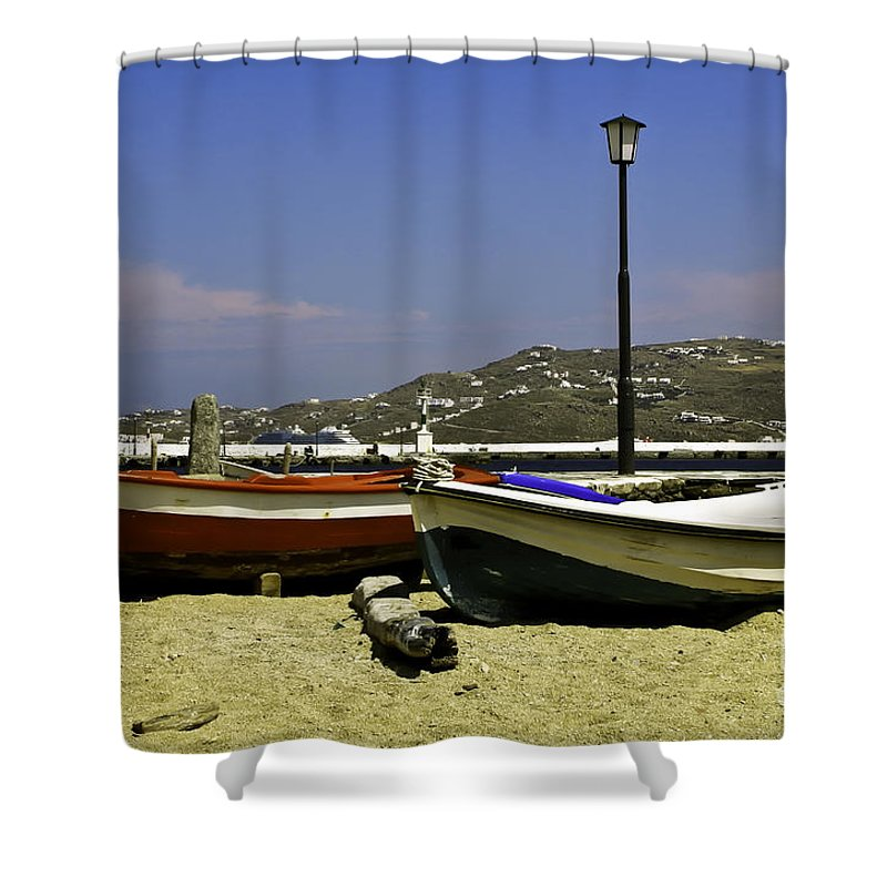 Pelican Shower Curtain featuring the photograph Pelican In Mykonos by Madeline Ellis
