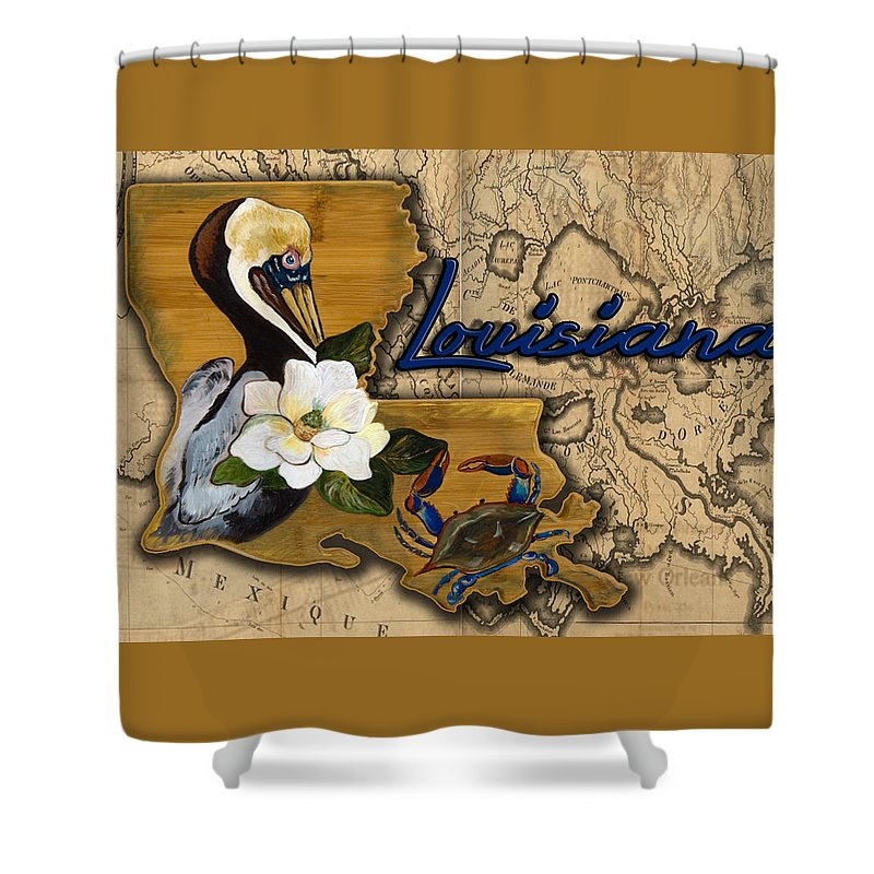 Pelican, Magnolia, And Blue Crab On Louisiana Map Shower Curtain