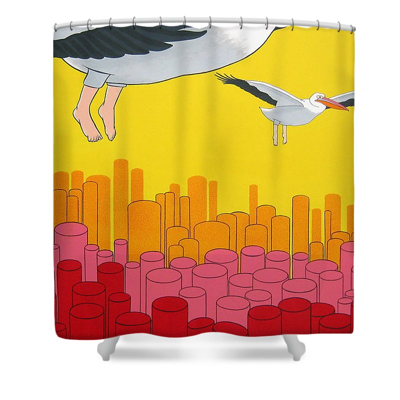 Birds Shower Curtain featuring the painting Pelicans by Patricia Van Lubeck
