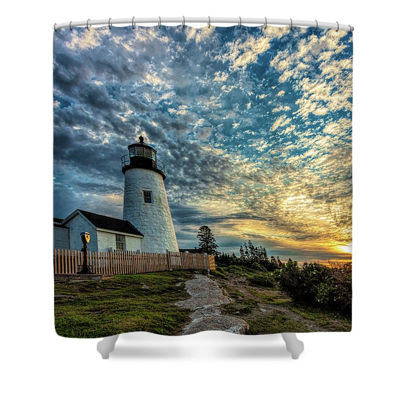 Vacationland Shower Curtain featuring the photograph Pemaquid Point Lighthouse At Daybreak by David Smith