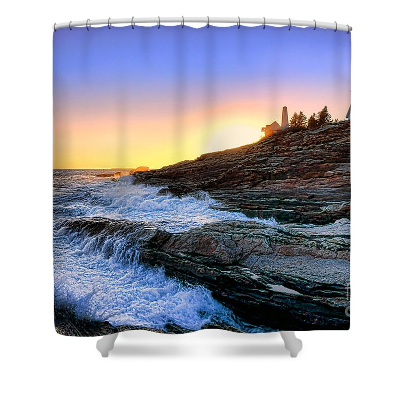 Maine Shower Curtain featuring the photograph Pemaquid Point Sunset by Olivier Le Queinec