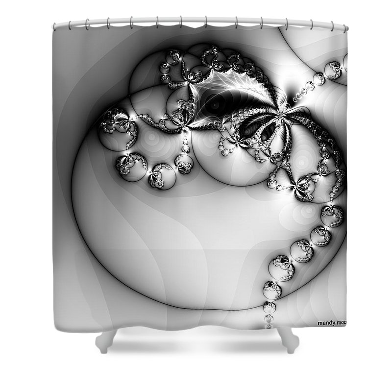 Digital Art Shower Curtain featuring the digital art Pendant In Silver by Amanda Moore
