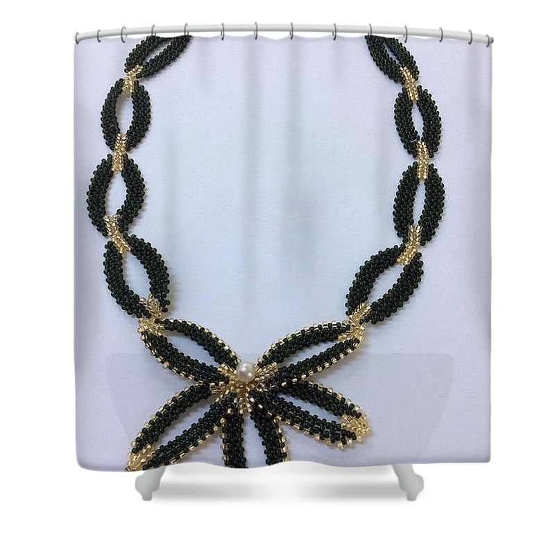 Pendant Shower Curtain featuring the jewelry Pendant With Beads 1 by Blerta Kajolli Fisheku