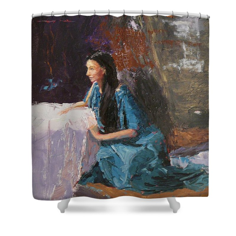Sitting Woman Shower Curtain featuring the painting Penelope by Irena Jablonski