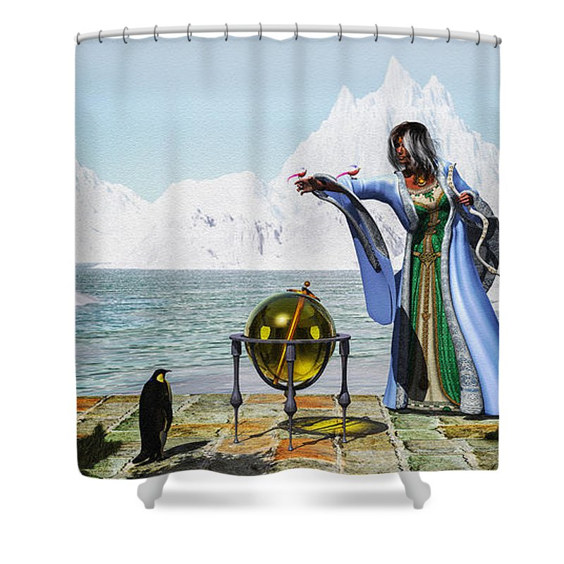 Winter Witch Shower Curtain Featuring The Digital Art Penguin Magic And By Bob