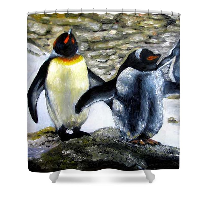 Oil On Canvas Shower Curtain featuring the painting Penguines Original Oil Painting by Natalja Picugina