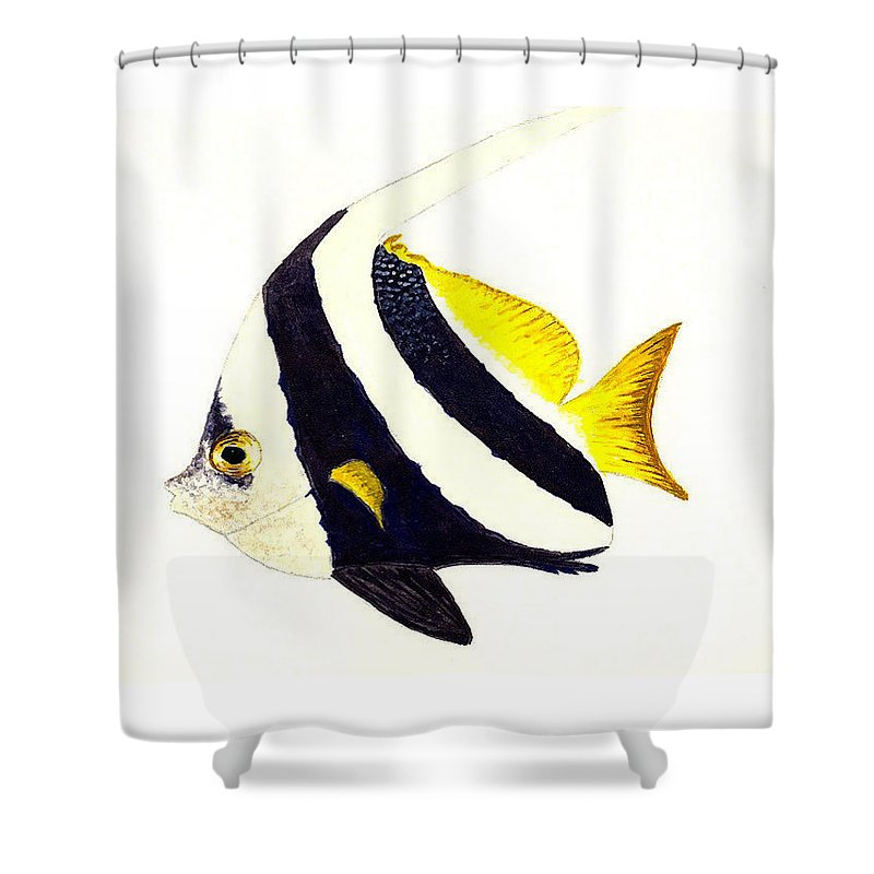 Fish Shower Curtain featuring the painting Pennant Fish by Michael Vigliotti