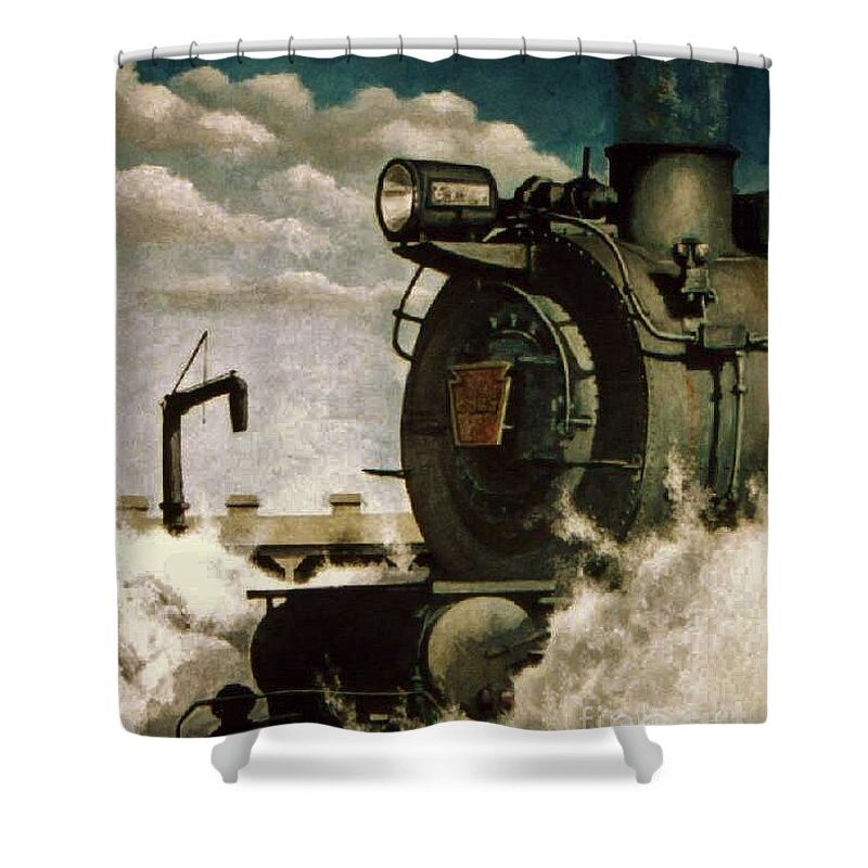Pennsylvania Railroad Prr Train Painting Railroad Maryland And Pennsylvania Autumn Fall Colors Steam Engine Shower Curtain featuring the painting Pennsy M1 by David Mittner
