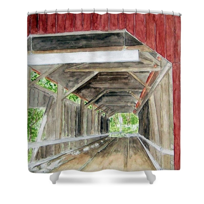 Covered Bridge Art Shower Curtain featuring the painting Pennsylvania Inside And Out by Larry Wright