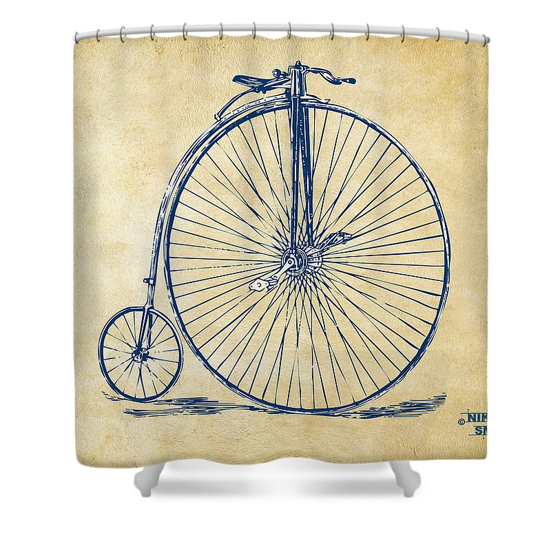 Penny-farthing Shower Curtain featuring the digital art Penny-farthing 1867 High Wheeler Bicycle Vintage by Nikki Marie Smith