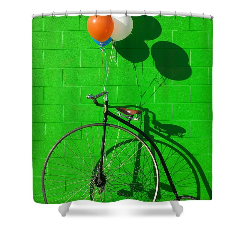 Penny Farthing Bike Shower Curtain featuring the photograph Penny Farthing Bike by Garry Gay