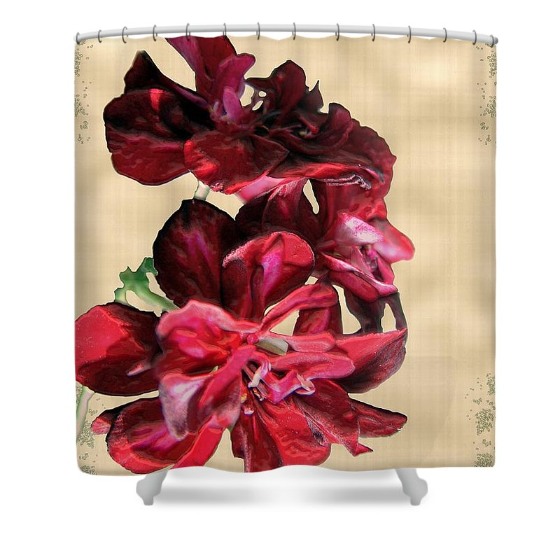 Flowers Shower Curtain featuring the painting Penny Postcard by RC DeWinter