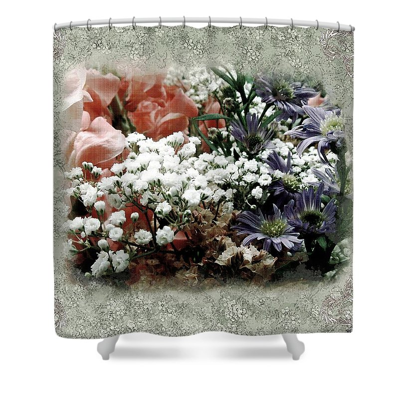 Flowers Shower Curtain featuring the painting Penny Postcard Romantica by RC DeWinter