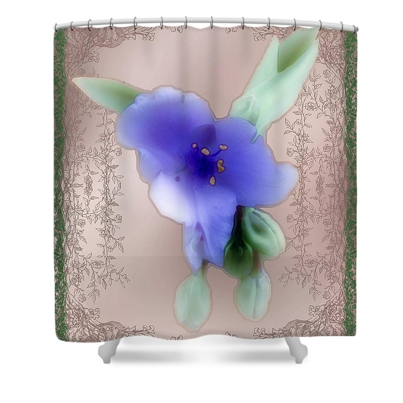 Blossoms Shower Curtain featuring the painting Penny Postcard Wildflower by RC DeWinter