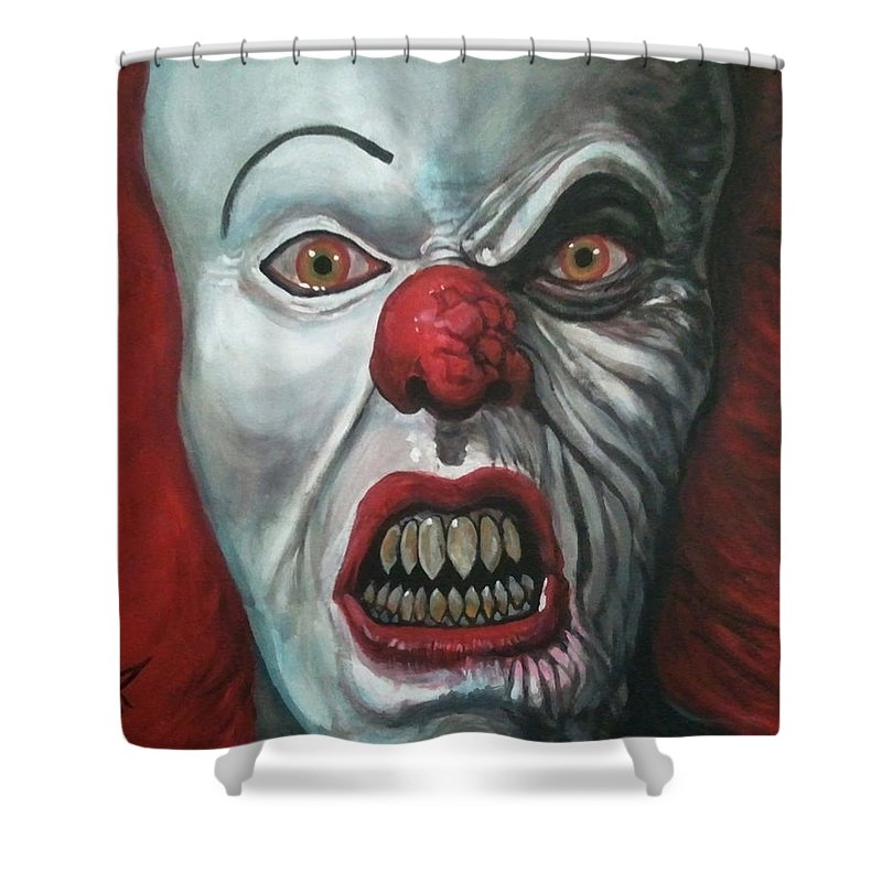 Pennywise Shower Curtain featuring the painting Pennywise by Tom Carlton