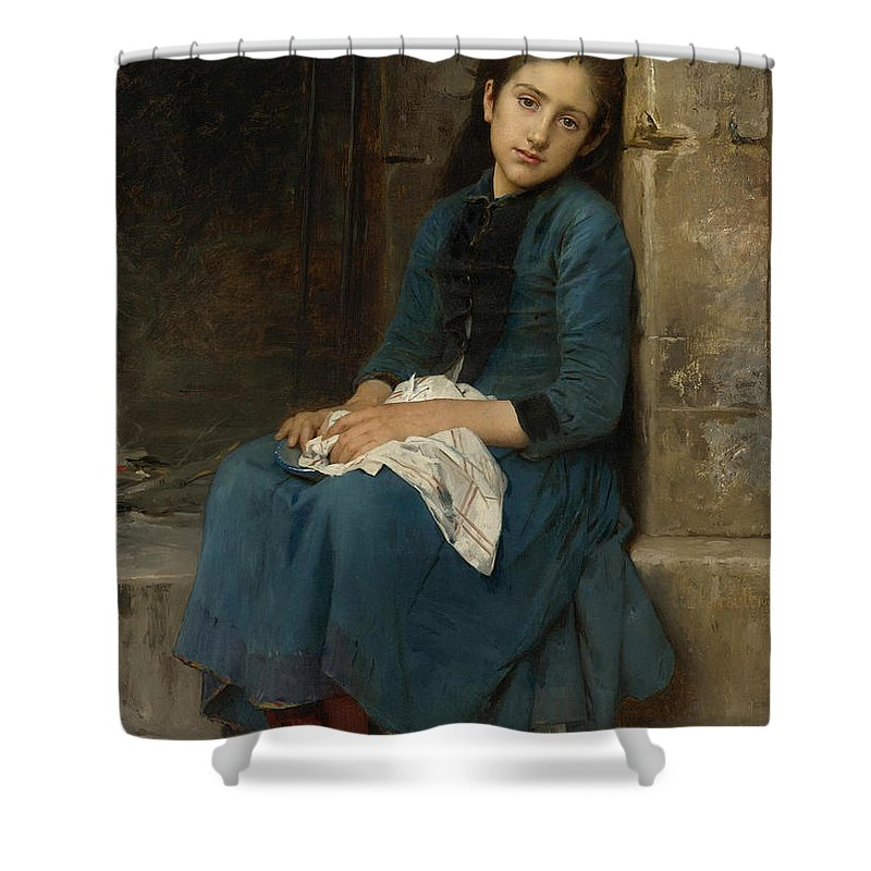 Leon Perrault Shower Curtain featuring the painting Pensive Girl. Innocence by Leon Perrault