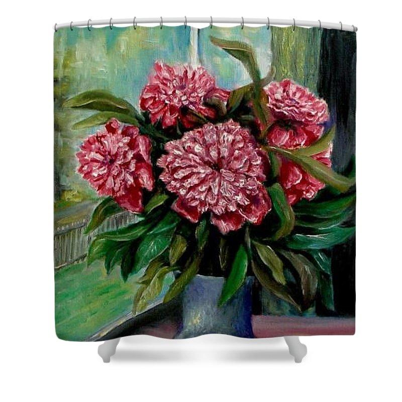 Peony Shower Curtain featuring the painting Peonies Flowers Original Painting by Natalja Picugina