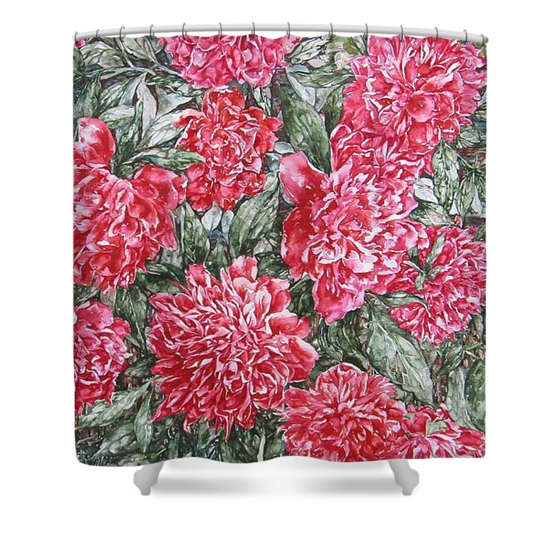 Peonies Shower Curtain featuring the painting Peonies Love by Kim Tran