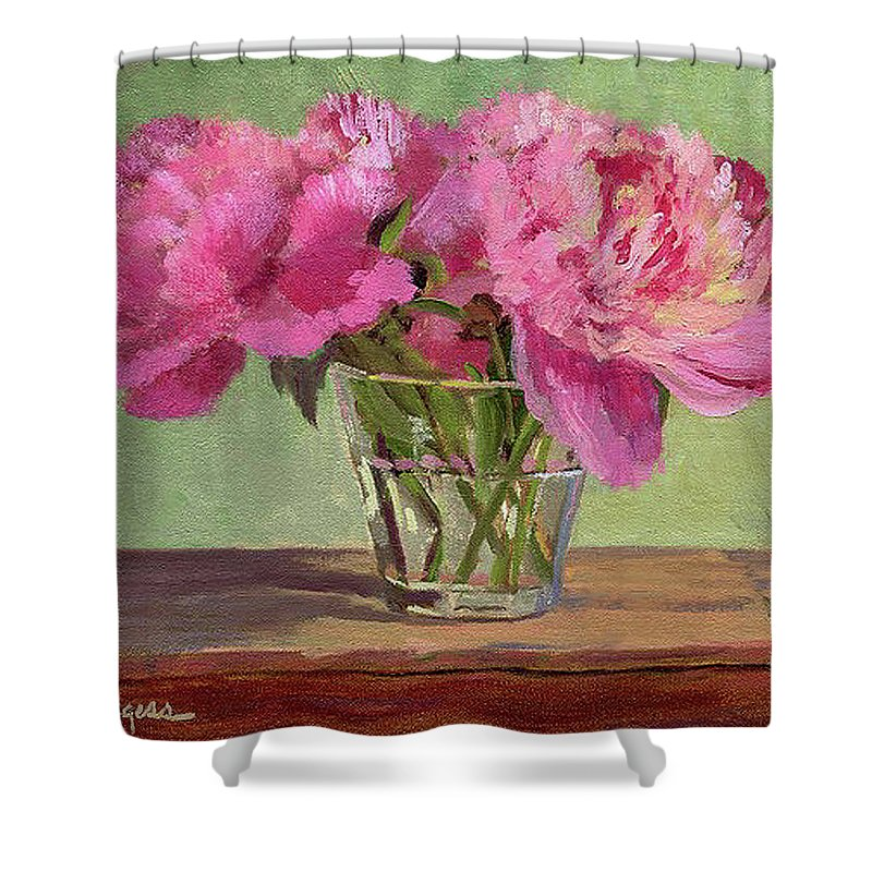 Still Shower Curtain featuring the painting Peonies In Tumbler by Keith Burgess