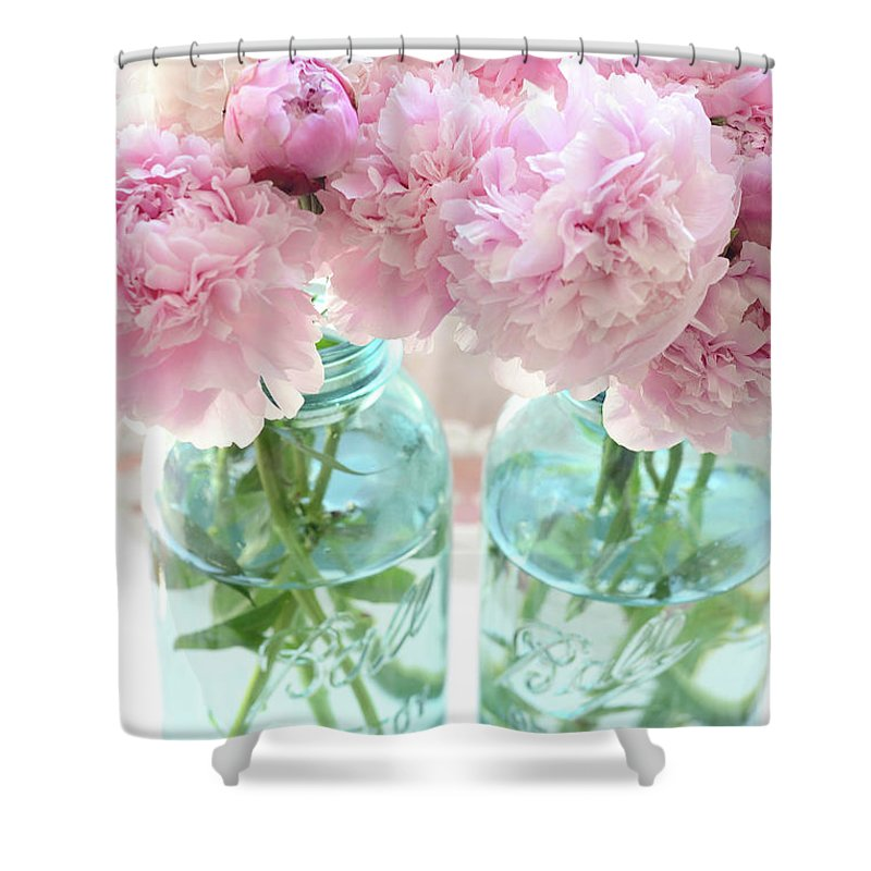 Pink Peonies Shower Curtain featuring the photograph Peonies Mason Jars -  Pink Peonies Vintage Mason Jars 0dd297053cdd